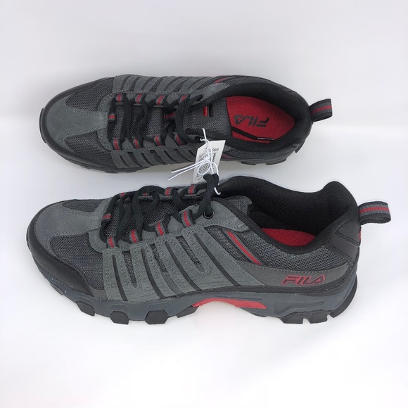 FILA Men/'s Westmount Athletic Hiking Shoes Grey//Black//Red NEW Sizes 8-13